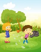 stock photo of hopscotch  - Cartoon of children playing hopscotch - JPG