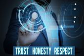 Handwriting Text Writing Trust Honesty Respect. Concept Meaning Respectable Traits A Facet Of Good M poster