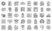 Biometric Authentication Icons Set. Outline Set Of Biometric Authentication Vector Icons For Web Des poster