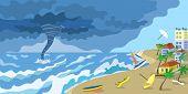 Storm Tornado At City Beach Concept Banner. Flat Illustration Of Storm Tornado At City Beach Vector  poster