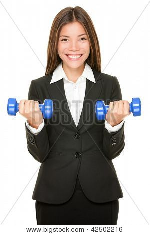 Business woman in suit lifting dumbbell weights. Business training, strength and success concept with young multicultural Asian Caucasian professional businesswoman isolated on white background.