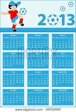 Calendar 2013 With Football Player