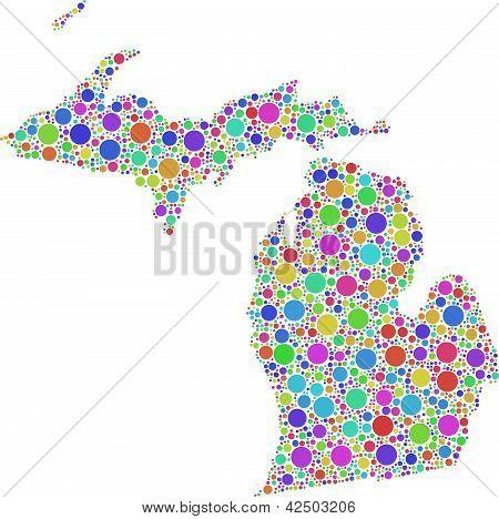 Decorative map of Michigan (USA)