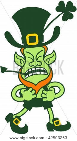 Green Leprechaun Grumbling, Clenching His Fists And Preparing For Fighting