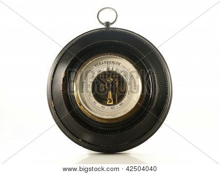 Antique Barometer Isolated On A White Background