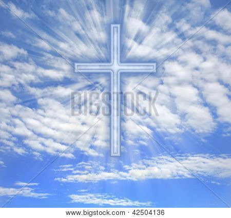 Christian cross with light beams