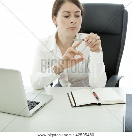 Young Brunette Business Woman File Nails While Work