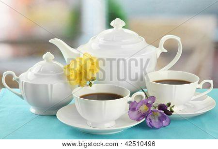 Beautiful tea service on table