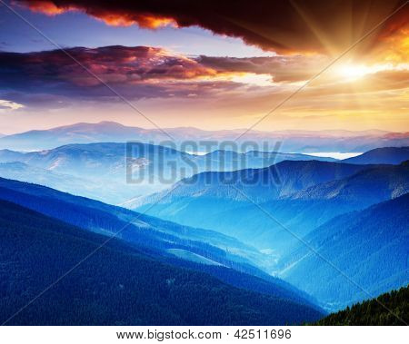 Majestic sunset in the mountains landscape. Carpathian, Ukraine.