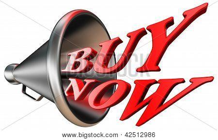 Buy Now Red Word In Megaphone