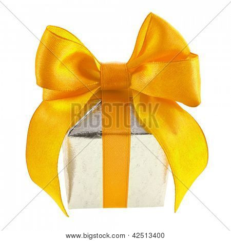 Single silver present box with yellow ribbon bow isolated on white