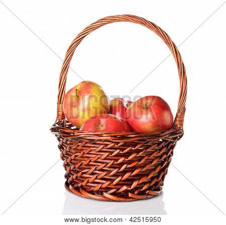 Apples in a brown basket
