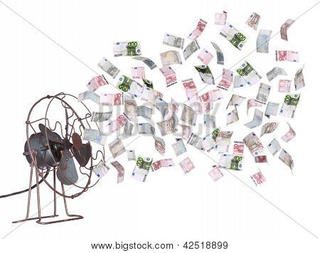 Old Ventilator And European Banknotes