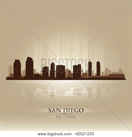 San Diego California Skyline City Silhouette