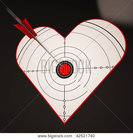 Heart Target Shows Successful Winner In Love
