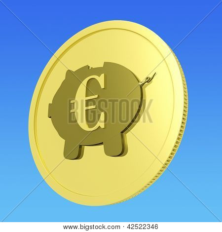 Porquinho de moedas de euro mostra Status bancário europeu