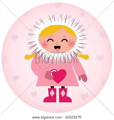 Niedliches Eskimo Mädchen halten Herz isoliert auf weiss