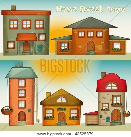 Cartoon Houses Set