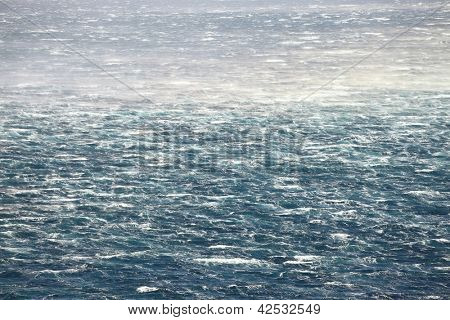Stormy waves on the raging sea