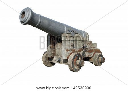 Old Spanish Cannon Isolated On White