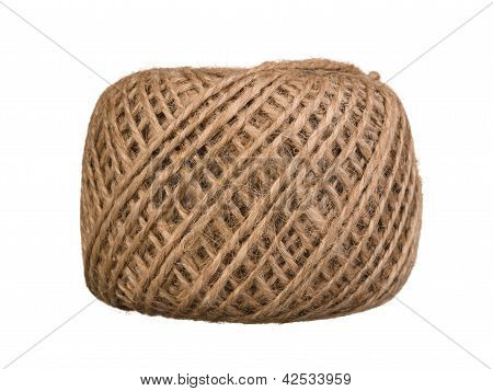 Natural Rope Skein Isolated On The White