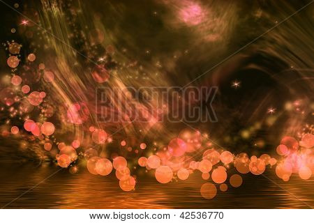 Abstract Fantasy In Bright Orange And Brown