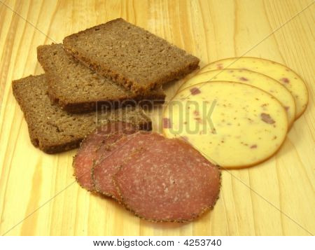 Rye Bread, Salami, And Smoked Cheese