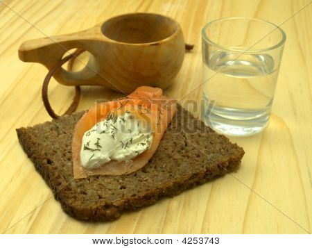 Smoked Salmon, Cream Cheese And Caviar On Rye Bread