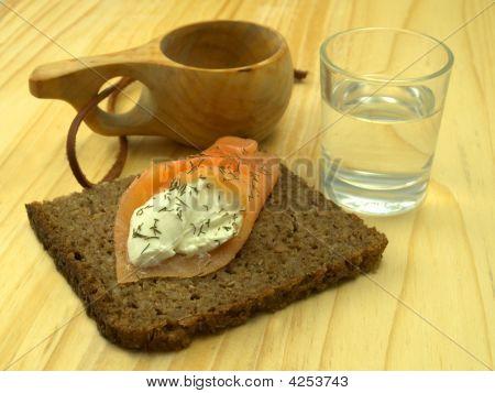 Smoked Salmon, Cream Cheese And Caviar On Rye Bread