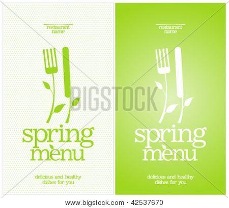 Modelo de Design de cartão de Menu Primavera do restaurante.