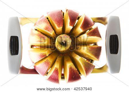 Fresh red apple sliced with slicer