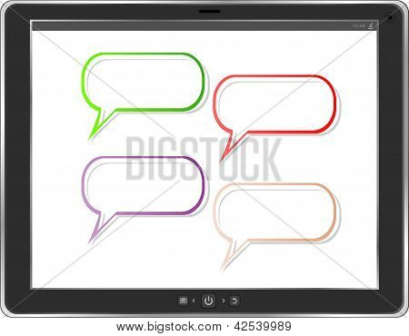 Empty Word Bubble On Tablet Pc Screen. Business Concept