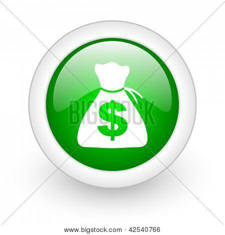 money green circle glossy web icon on white background