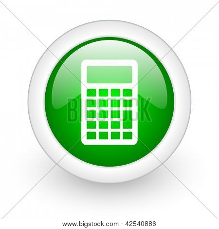 calculator green circle glossy web icon on white background