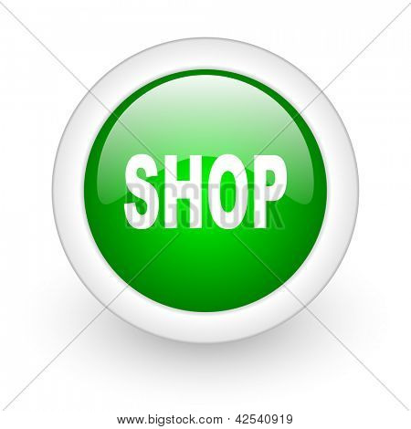 shop green circle glossy web icon on white background