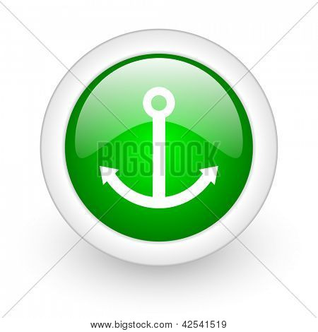 anchor green circle glossy web icon on white background