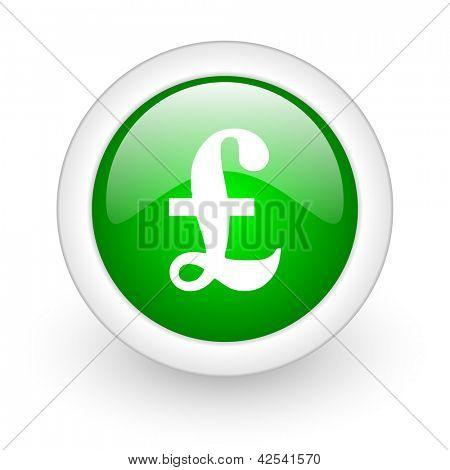 pound green circle glossy web icon on white background