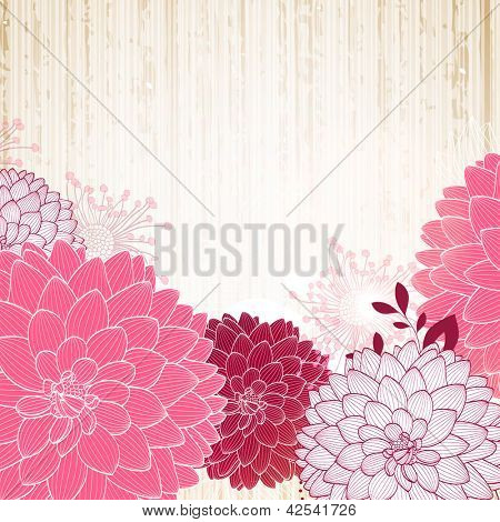Hand-drawing floral background with flower dahlia. Element for design.