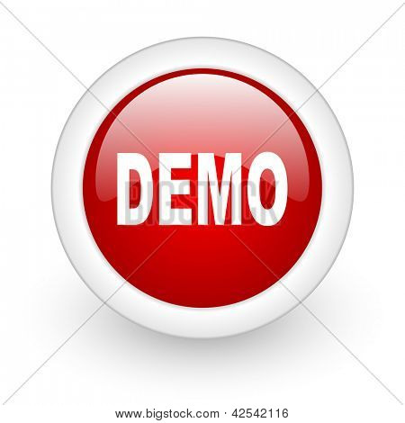 demo red circle glossy web icon on white background