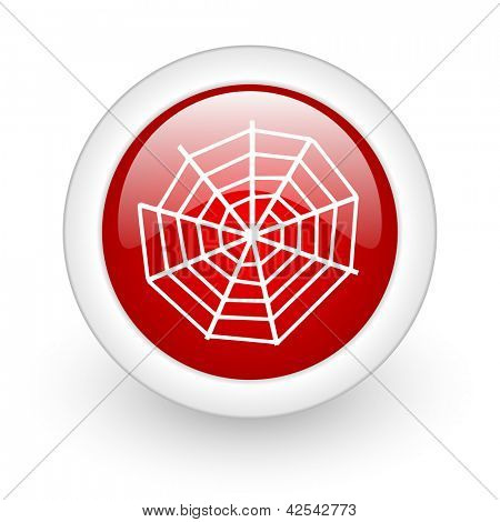 spider web red circle glossy web icon on white background
