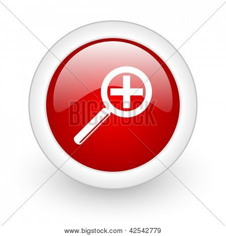 magnification red circle glossy web icon on white background