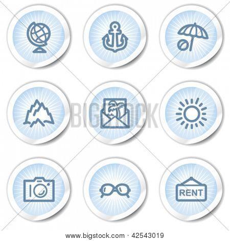 Travel web icons set 5, light blue stickers