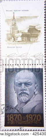 RUSSIA - CIRCA 1970: two stamps printed by USSR shows  portrait Socialist leader Lenin & Red Square