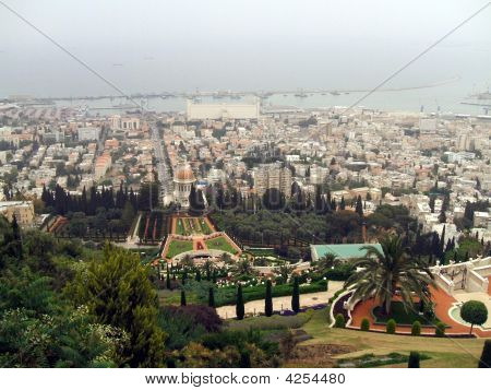 Aerial View Of Haifa City & The Bahai Center, Israel