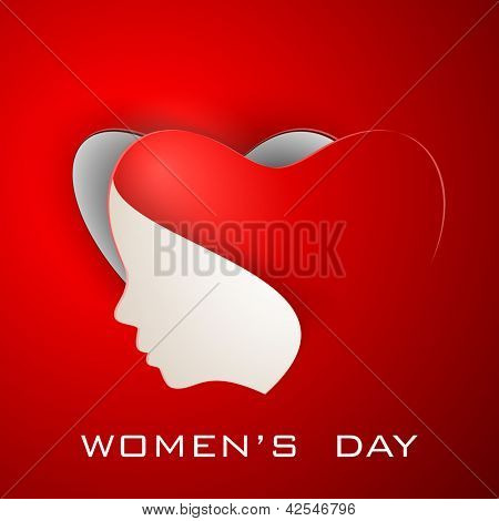 Happy Women's Day greeting card or background with illustration of lady face on red background.