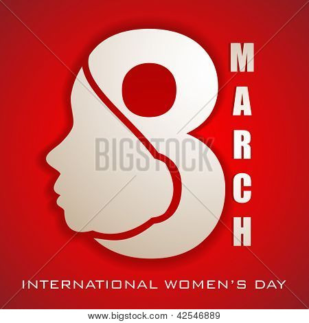 Happy Women's Day greeting card or background with illustration of lady face and text 8 March on red background.