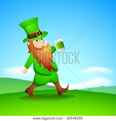 Saint Patrick's Day background with happy leprechaun drinking green beer.