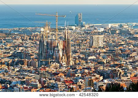 Barcelona - July 10: Aerial View Of The Sagrada Familia, Antoni Gaudi's Unfinished Masterpiece. It I