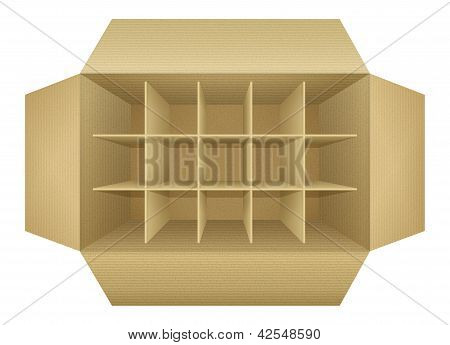 Open Empty Corrugated Cardboard Packaging Box