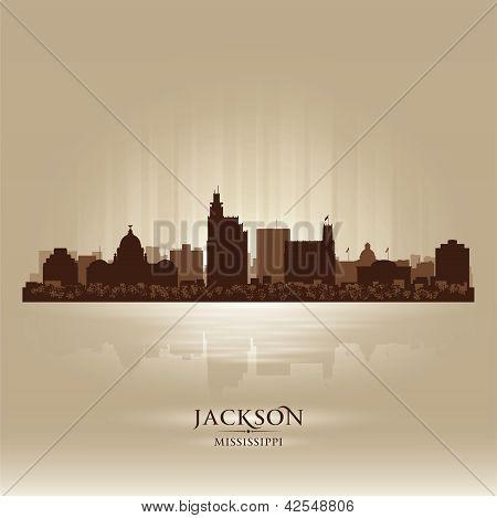 Silueta de la ciudad de Jackson Mississippi Skyline